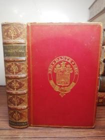 1874年  THE WORKS OF WILLIAM SHAKESPEARE  有签名 全皮装帧  17.7X12.5CM