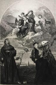 19世纪晚期蚀刻铜版画《戈齐祭坛画之荣耀圣母子及圣徒和施主》—西方油画之父,意大利文艺复兴后期威尼斯画派画家提香·韦切利奥(Tiziano Vecelli,1490 - 1576年)作品 雕刻师Ludwig Kühn 37.7*28.1厘米