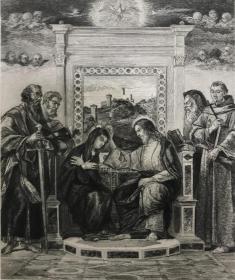 19世纪晚期蚀刻铜版画《圣母加冕》——意大利威尼斯画派画家乔凡尼·贝利尼(Bellini Giovanni,1430 - 1516年)作品 雕刻师Peter Halm 37.7*28.1厘米