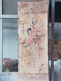 乡下拆迁  购得其佩纯手绘  女娲补天 老画一张   作者年代不详   品相见图  包老 尺寸160/60