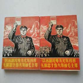 以林副统帅为光辉榜样无限忠于伟大领袖毛主席(上下册)书里面有字迹和划线,下册前面几页有点发黄,看图
