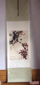 柳子谷画花鸟图 一幅(江西玉山人)原装裱精裱立轴。自然旧  ,保真手绘作品