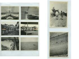 民国1930年代英国驻军在山东威海卫刘公岛海域训练,活动,奖杯等老照片一组八张