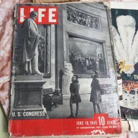 美国Life (生活)杂志 1945年6月间 2 册   大量二战照片和报道 丘吉尔 美军冲绳岛血战等战地报道