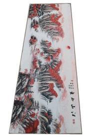 江山如画红色刺绣织锦绣丝织画