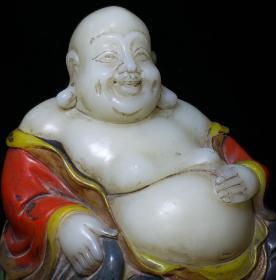 珍藏寿山石彩绘弥勒佛