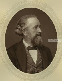 十九世纪英国皇家学院化学教授E.Edward Frankland  爱德华 弗兰克兰 肖像。伍德伯里照相印版, 他提出原子价的概念,发现每种金属原子只能与一定数目的有机基团相结合,并指出元素的结合能力是可改变的