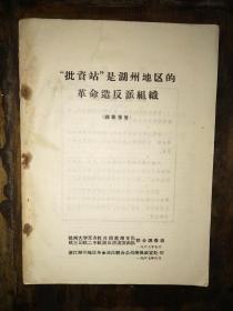 """16开文革资料一册:《""""批资站""""是湖州地区的革命造反组织(调查报告)》"""