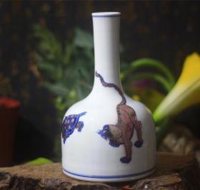 青花釉里红瓷器山海经三怪摇铃樽瓶