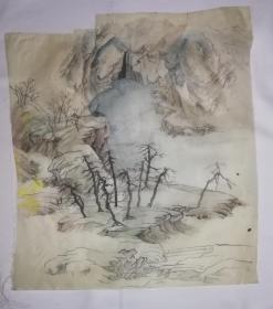 手绘真迹国画:无款20200629-01(绢本)