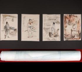津门名家-姬振岭-《三国人物四屏》