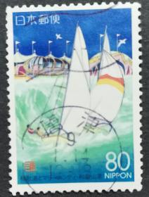 日本信销邮票 和歌浦とマリーナシテイ  和歌山県(和歌浦与海滨城 帆船图案 樱花目录R150)