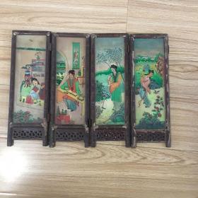 晚清民国时期人物玻璃画4幅1套(保老,每幅尺寸19*10cm)