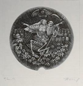 俄罗斯 尼古拉·拜塔科夫Nikola Batakov版画藏书票原作8精品收藏尺寸(21.3*26.3cm)