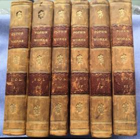 1776年古董全真皮英文原版书《亚历山大·蒲柏的作品集 6卷集》1776年版 The Works of Alexander POPE in Six Volumes, Leather Bindings