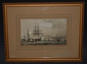 1864 年 巨型纯手工上色石版画(带画框)《皇家夜航船》The Royal Yacht off Margate, Night of March 5th 1863  品佳