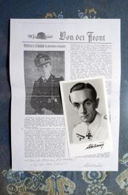 泥泞中的老虎作者—德国陆军502重装甲营头号虎式坦克王牌签名照。