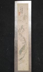 D466:回流手绘精品短册草虫图(日本回流字画.回流老画.老字画)