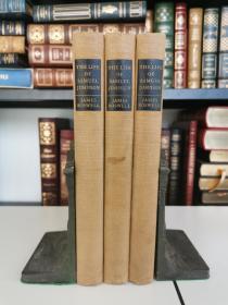 The Life of Samuel Johnson 《约翰逊传 》1925年出版  蜡布面精装版 全三卷 胶版纸印刷,装帧做工精良,收藏佳品