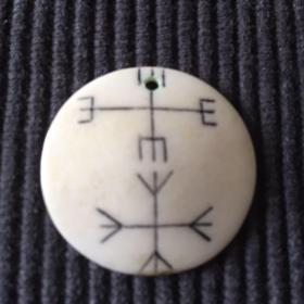 尼泊尔 骨质符咒圆牌 怀爱姻缘 #2