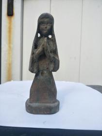 老木雕仕女人物像,不清楚年代和人物