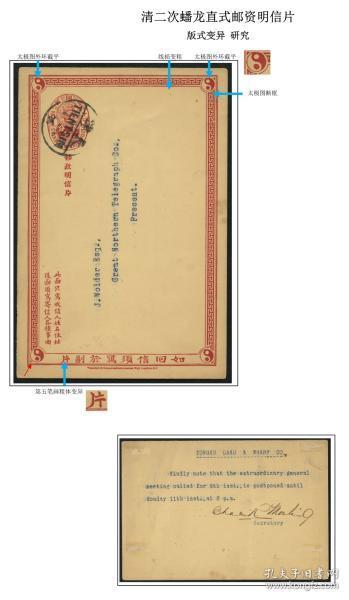 版式变异片---清二次蟠龙直式邮资双明信片去片旧一件,销天津'04.5.8'中英文半切圆戳。