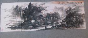 国画山水画六尺横幅 蜀江韵 画心原稿真迹手绘