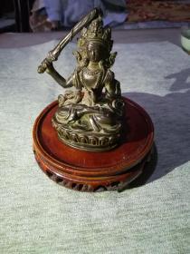 漂亮清代藏教文殊菩萨紫铜小铜像,7*4*8.6cm