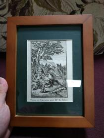 【欧洲铜版画 圣经故事 射击和阿曼莱尼特 为西里尔小姐 1712年】带框