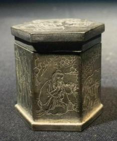 清代白铜刻人物烟丝盒