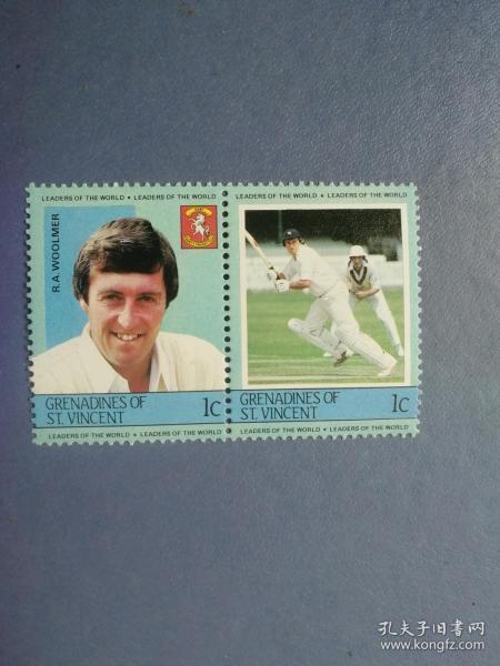 外国邮票 圣文森特邮票  棒球运动员 双联 (无邮戳新票)