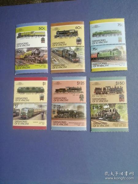 外国邮票 圣文森特邮票  1985机车、火车邮票 6双连12全 3高值(无邮戳新票)