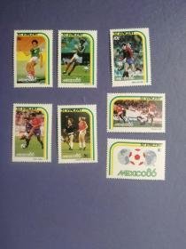 外国邮票 圣文森特邮票  1986年足球世界杯 7枚 (无邮戳新票)