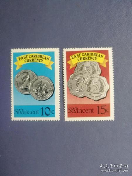 外国邮票 圣文森特邮票 1987年 钱币 2枚 (无邮戳新票)