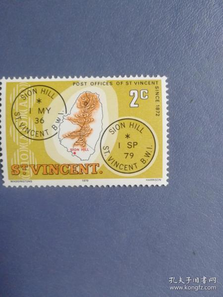 外国邮票 圣文森特邮票 1979年地图、邮戳(无邮戳新票)