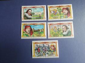 外国邮票 图瓦卢邮票   国王 城堡 徽志 10枚 5个双联 含2高值(无邮戳新票)