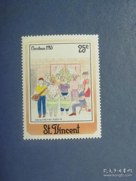 外国邮票 圣文森特邮票 1985年圣诞节 儿童画 (无邮戳新票)