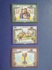 外国邮票 圣文森特邮票 1986 亚瑟王传说 3枚 (无邮戳新票)