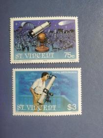 外国邮票 圣文森特邮票 1986  天文台望远镜 哈雷彗星回归 2枚 高值(无邮戳新票)