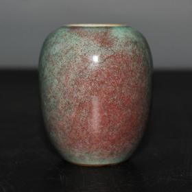清代琅琊绿釉小水洗 高7厘米,口直径3厘米,底直径3.3厘米.