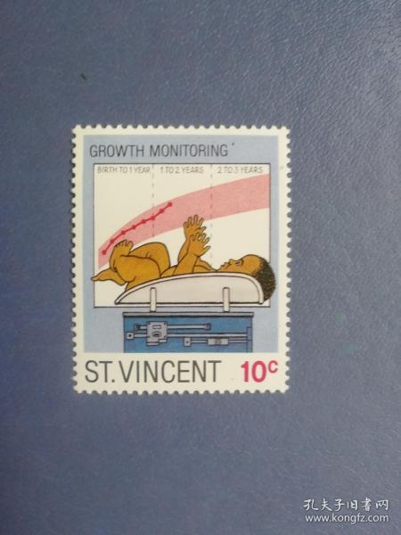 外国邮票 圣文森特邮票 婴幼儿生长发育监测 (无邮戳新票)