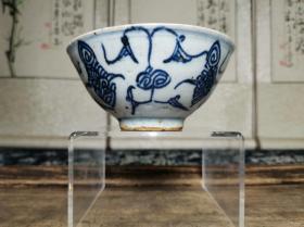百年历史传世清代景德镇窑民俗瓷器青花缠枝莲纹碗