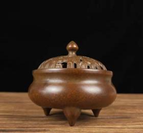 纯铜盘香炉家用室内香薰炉供佛茶道