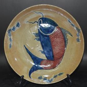 官窑开片陶瓷 手绘年年有鱼盘子
