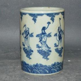 晚清民窑瓷器青花八仙小笔筒