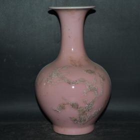 单色釉桃红堆花纹赏瓶