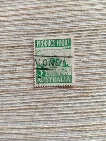 澳大利亚邮票  3D 收获 小麦 1953年粮食生产 收割机