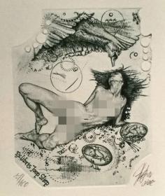 捷克 Hujber Gunter冈特·胡博《丽达与天鹅》 版画藏书票原作6 精品收藏