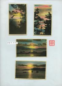 民国1930年代山东威海卫海景手工上色银盐老照片一组四张,上色手法高超可谓民国顶级水平之一,过渡,浓淡,还原,对比,无一不是精品,堪称教科书样本