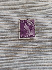 澳大利亚邮票 1D 英国女王像 伊丽莎白二世 1953年发行